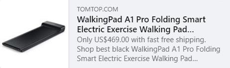 小米 WalkingPad A1 Pro 折叠智能电动运动步行垫跑步机代码:HYAQW 价格:390.99 欧元欧盟仓库发货,免运费